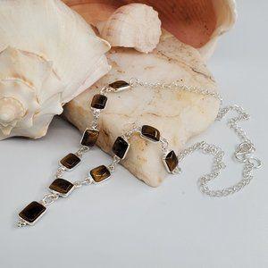 Silver Pendant Necklace Tiger Eye Stone